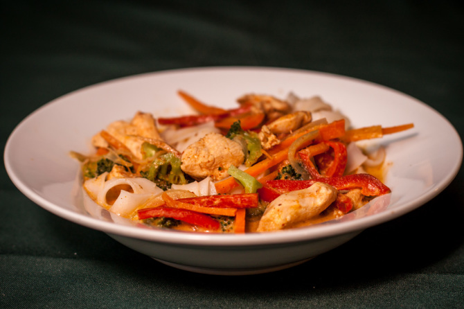 Chicken Red Curry with Rice Noodles