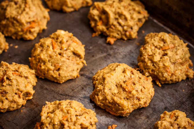 Oatmeal Carrot Cookies on Pan