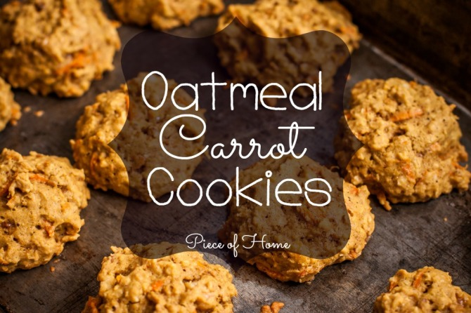 Oatmeal Carrot Cookies on Pan with text