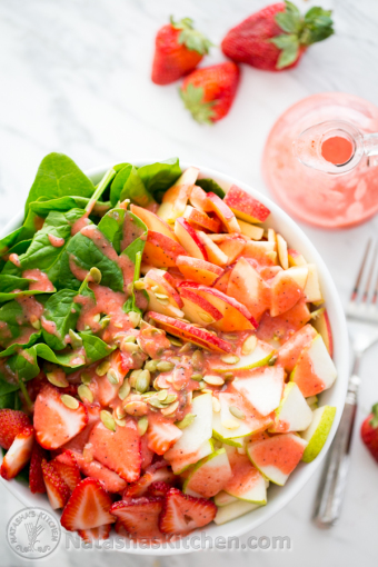 Apple-and-Pear-Spinach-Salad-with-Strawberry-Vinaigrette-9