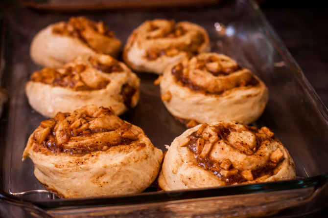 Apple Cinnamon Rolls out of the oven