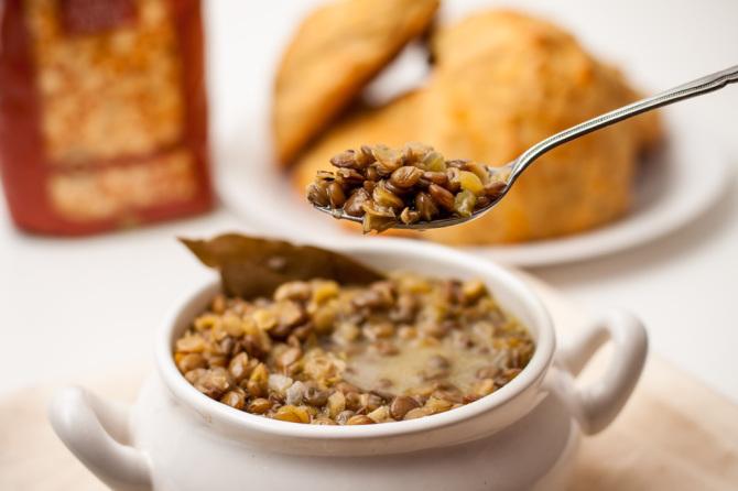 Lentil Soup with Spoon