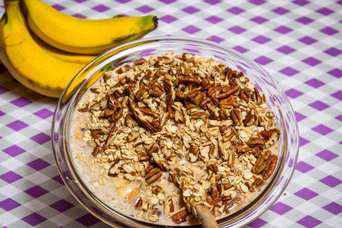 Banana Bread Oatmeal Bake - add nuts
