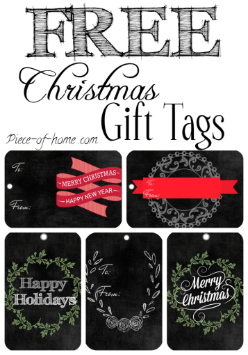 Christmas Chalkboard Rectangle Gift Tags Collage