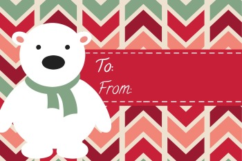 Polar Bear Gift Tag Pink