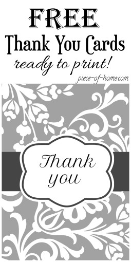 Free Thank You Cards Piece of Home