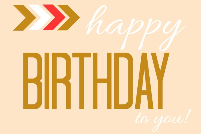 Gold and Coral Happy Birthday Tag or Printable