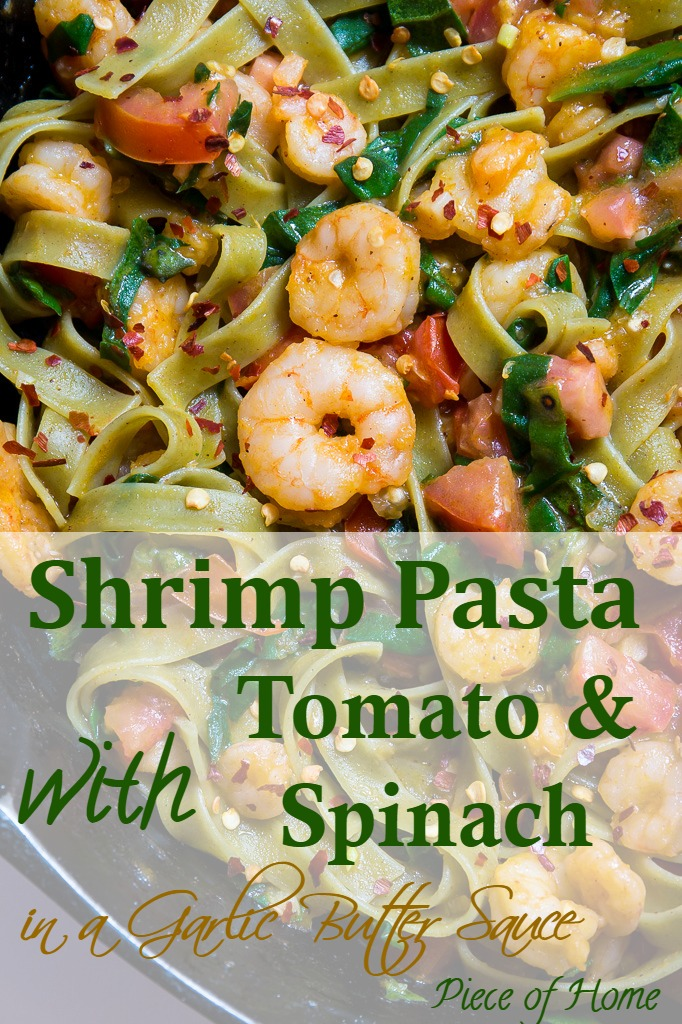 Shrimp Spinach Pasta in Pan Piece of Home