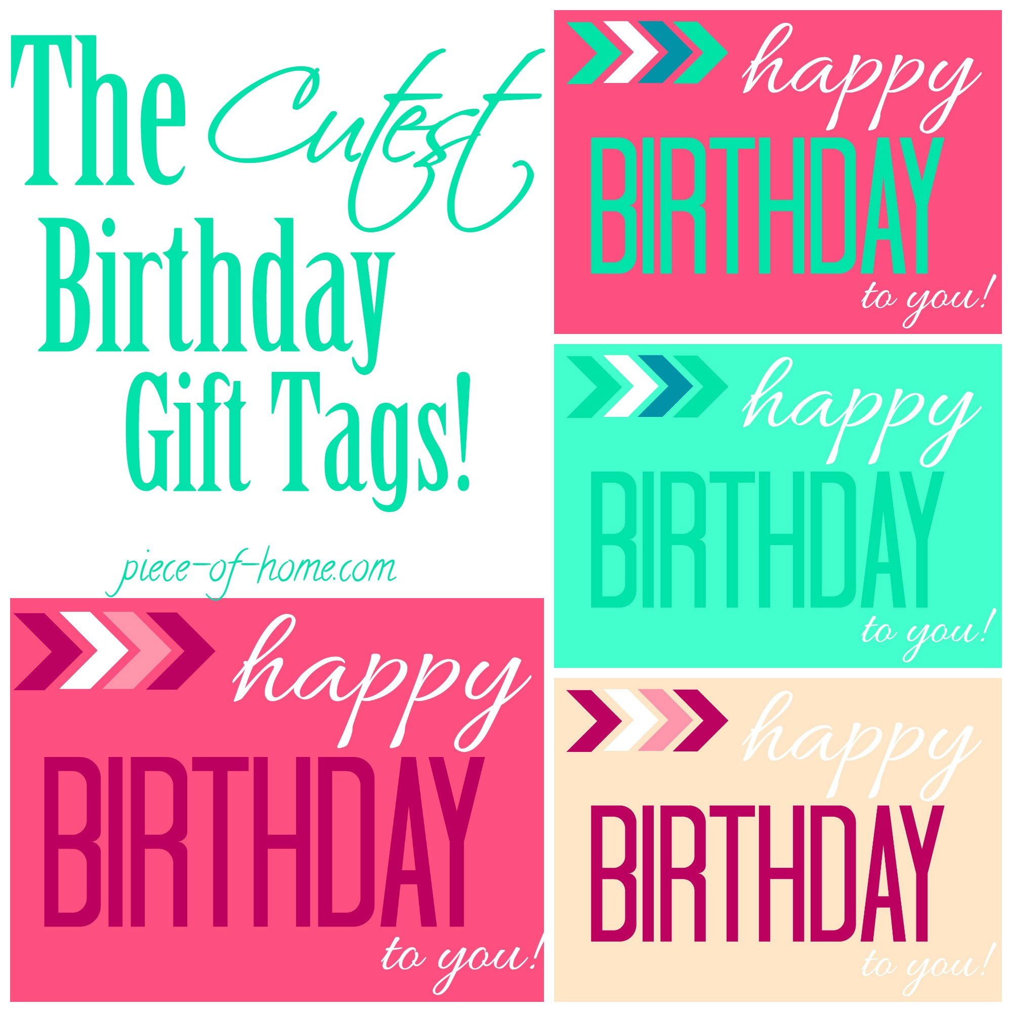 photo about Birthday Tag Printable known as Satisfied Birthday Present Tags or Printables - Piece of Residence